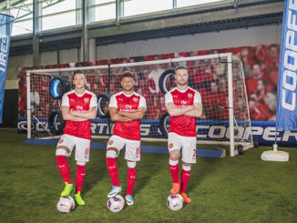 Arsenal's Mesut Özil, Alex Oxlade-Chamberlain and Shkodran Mustafi took part in the Cooper Tire Reaction Challenge