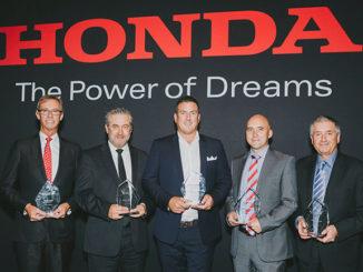 Honda's Dealer Excellence Award winners: L to R: John Gardner (Honda North), Brad Heuchan (Kloster Honda), Sam Nixon (Launceston Honda), Jon Booth (Northway Honda), Ron Klein (Astoria Honda)