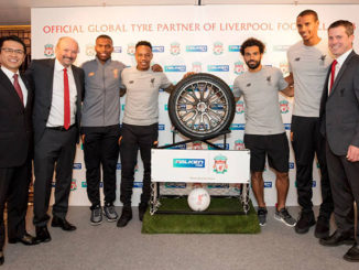 SRI's Director and Senior Executive Officer Satoru Yamamoto, Liverpool FC's CEO Peter Moore, Liverpool players Daniel Sturridge, Nathaniel Clyne, Mohamend Salah and Joel Matip and Liverpool Managing Director Billy Hogan