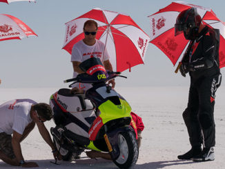 Fabio Fazi set two world records on the Benelli scooter