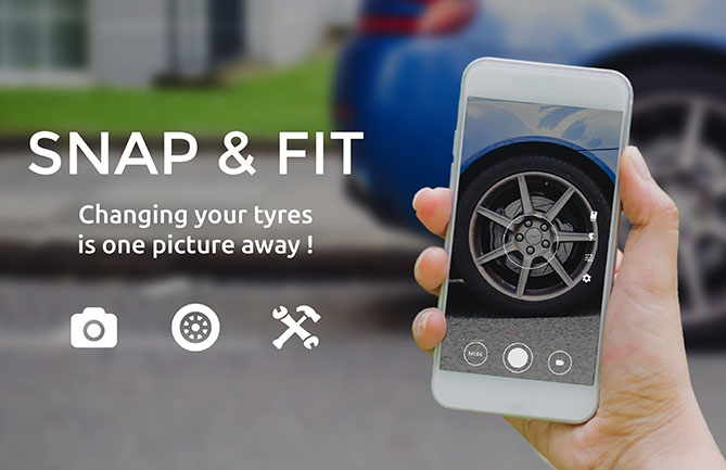 Tyrestock's Snap & Fit feature reads the sidewall data of a tyre from an image uploaded by a customer. It then selects appropriate tyres from which the customer can make a selection