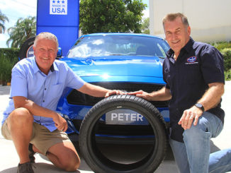 Mustang GT winner Peter Stephenson with Cooper Tires' Australian Distributor Terry Smith