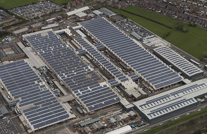 Solar panels on the roof of the Bentley factory