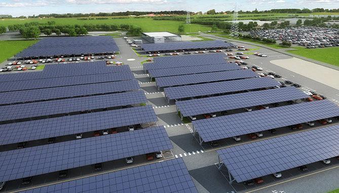 Artist's impression of Bentley's proposed solar power car port