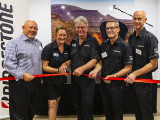 L-R: Bridgestone Australia Regional Retail Manager WA Terence Southgate, Lynda and James Hagan, Bridgestone Commercial Manager WA Stephen Milford, and Bridgestone National Commercial Manager Geoff May officially at the opening of Bridgestone Service Centre Port Hedland.