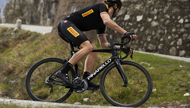 The Pirelli PZero Velo tyres will be fitted to the Pinarello Dogma F10 bike