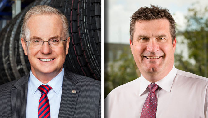 Long-serving Bridgestone Australia & New Zealand boss Andrew Moffatt (left) is retiring and will be replaced at the helm of the company by Stephen Roche