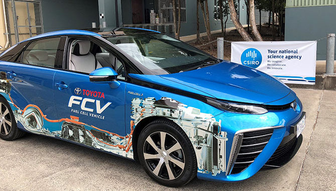 The Toyota Mirai fuel cell vehicle, ready to be fuelled with CSIRO-produced hydrogen
