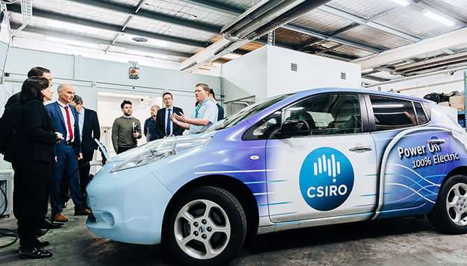 Representatives from Nissan, CSIRO and Delta Energy Systems at the grant announcement