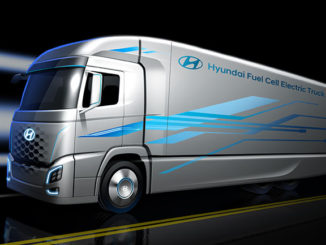 Artist's rendering of Hyundai's Fuel Cell Electric Truck