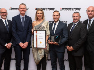 Bridgestone named Bridgestone Select Enoggera as its National Franchise of the Year: L-R: Darren Denley, Rob Salter, Emily and Damien Meneguzzo, Heath Barclay, Tristan Briggs