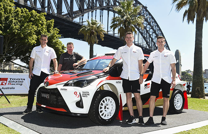 The Toyota Gazoo Racing Australia rally team was launched in Sydney with (l-r) co-driver John McCarthy, team principal Neal Bates, driver Harry Bates and driver Lewis Bates