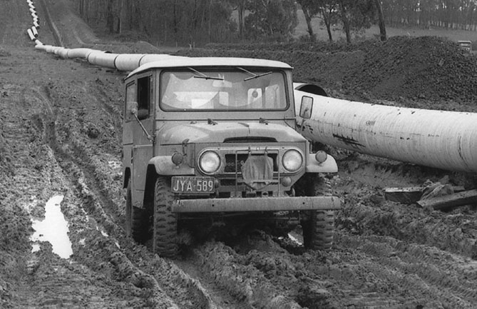 Toyota LandCruiser was instrumental in the building of many major infrastructure projects including the Bass Strait-Melbourne gas pipeline (pictured) and Snowy Mountains Hydro Scheme
