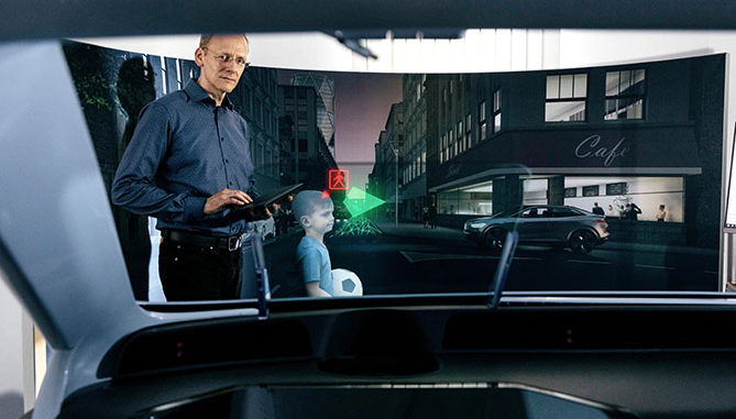 VW is undertaking research into head-up displays with augmented reality technology