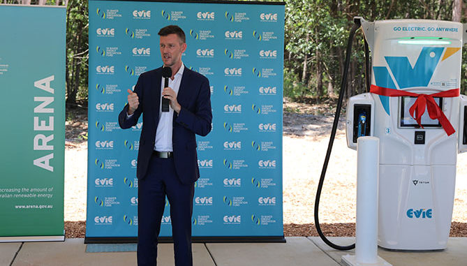 Mark Bailey MP, Queensland's Minister for Transport and Main Roads, at the opening of the Evie Networks ultra-fast charger north of Brisbane